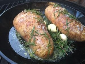 Cooking Rosemary Garlic Hasselback Potatoes