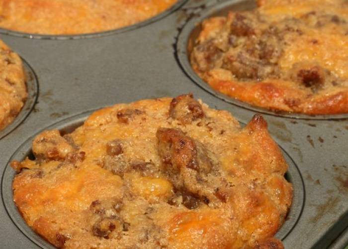 Whole Wheat Cheesy Sausage Muffins