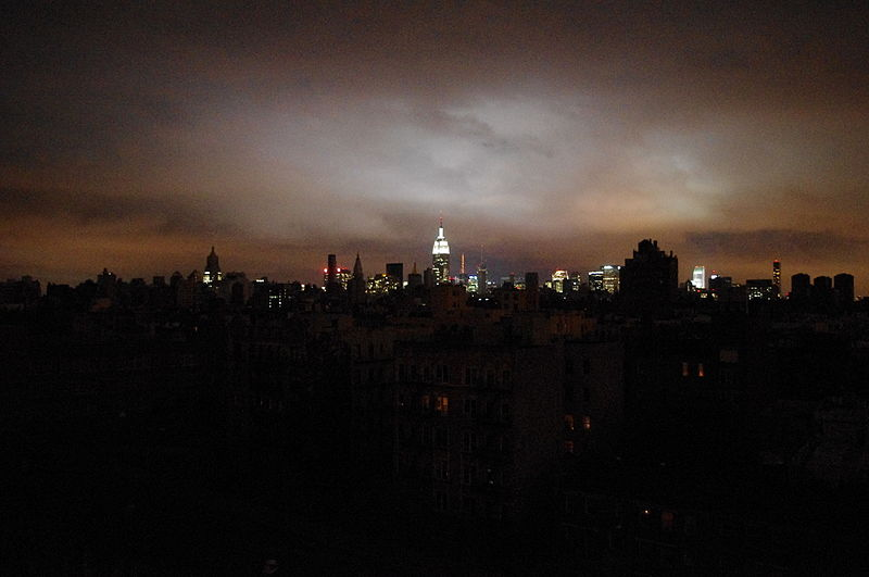 New York skyline when half the city was in blackout due to Hurricane Sandy. Photo by David Shankbone. Creative Commons Attribution 3.0 Unported license.