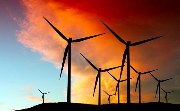 Wind turbines at sunrise (Wind Data Centre)