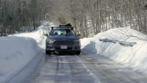 A Ford Fusion on a snowy road. All photos courtesy of Dave Roberts.