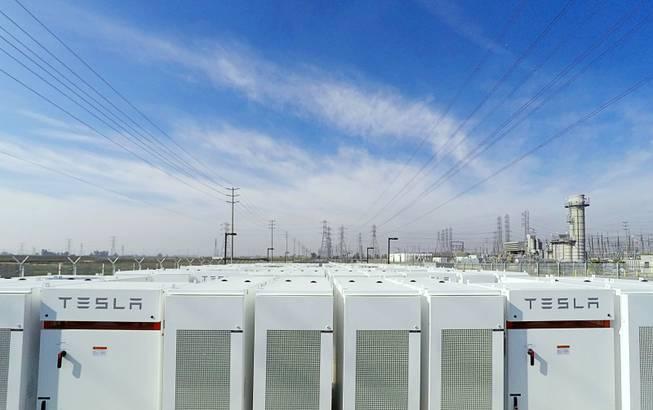 Tesla battery packs at the Mira Loma substation (Tesla image)