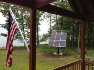 An off-grid system installed by Integrity Energy at Lake Champlain has nine SolarWorld 265-watt modules. Photos courtesy of Integrity Energy.