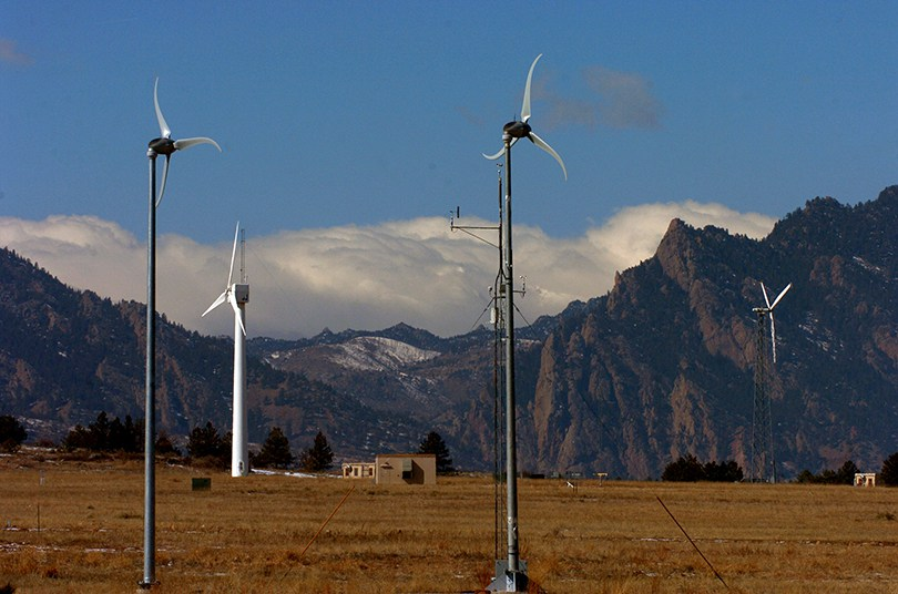 Wind turbines at NREL's National Wind Technology Center south of Boulder (Helen H Richardson, Denver Post)