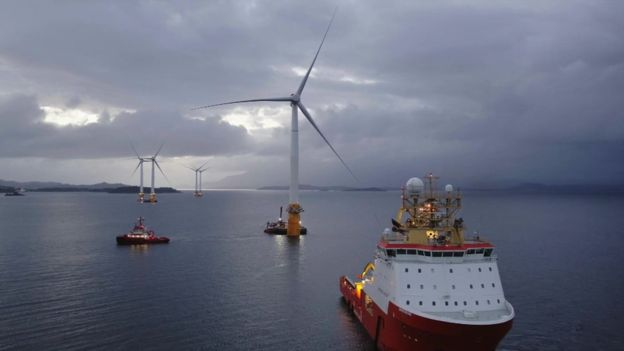 Towing turbines into place