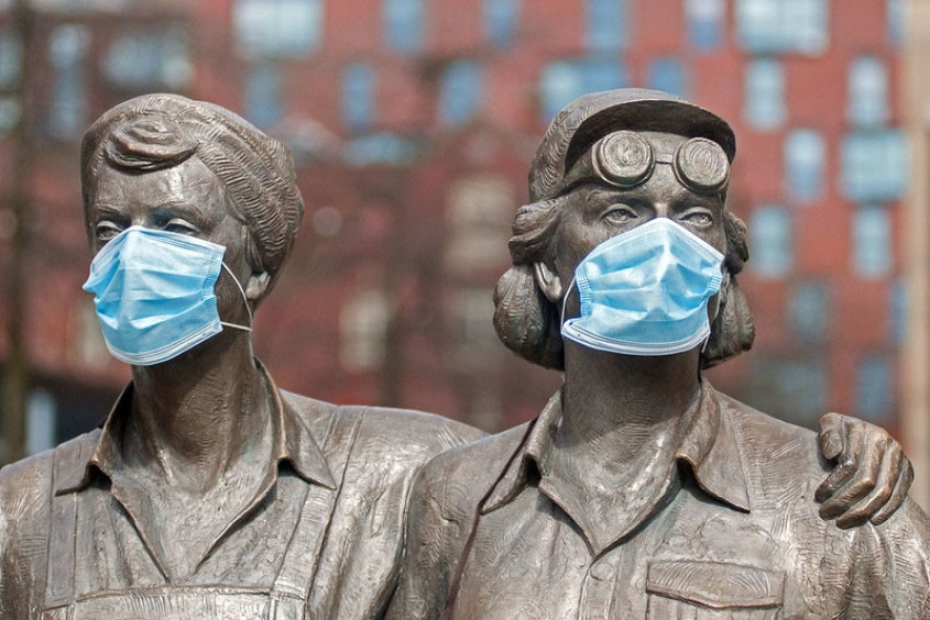 Steel Women statues in Sheffield wearing surgical masks
