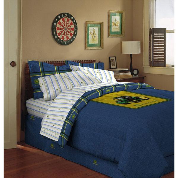 John Deere Blue Denim Bed Skirt Dust Ruffle Lp32186
