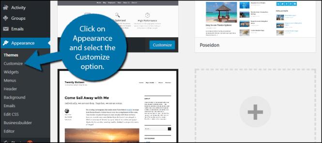 Image result for wordpress website basic customization option