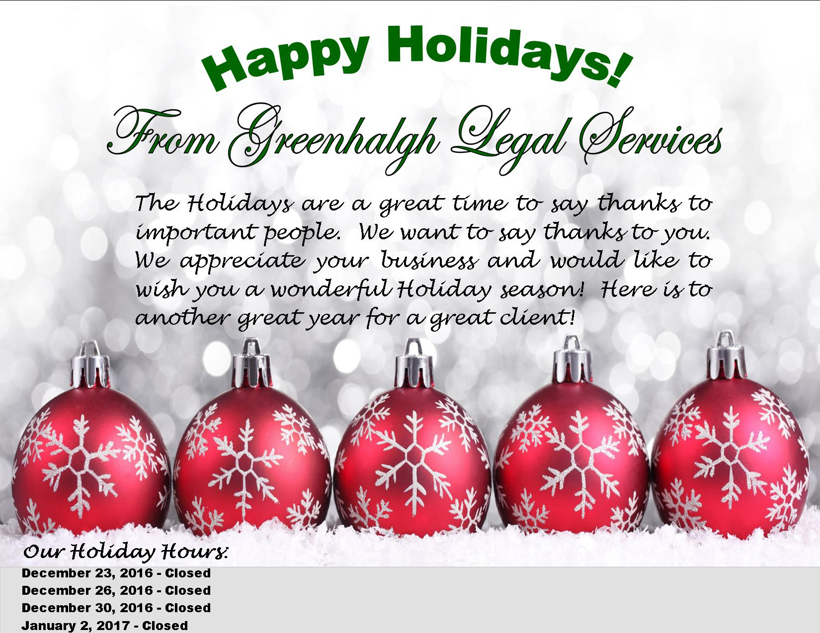 Happy Holidays From Greenhalgh Legal Services Estate Planning Attorneys Serving South Central
