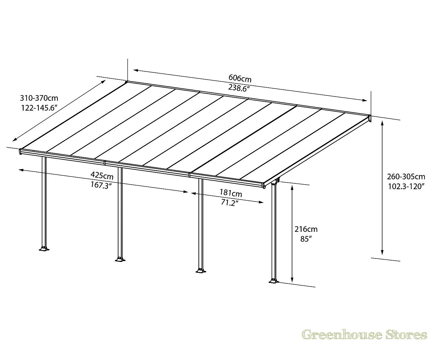 Palram Feria 4m Carport In 2 Lengths