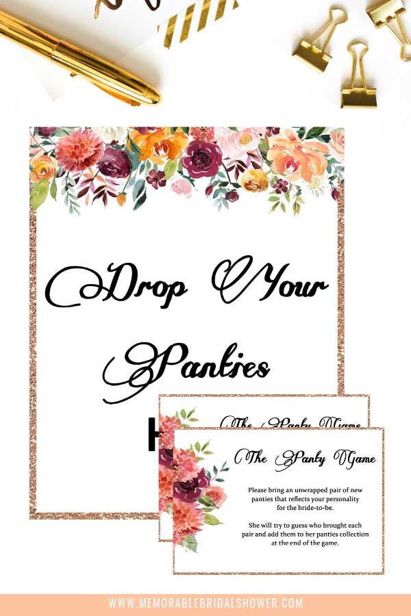 Drop your panties here bachelorette game