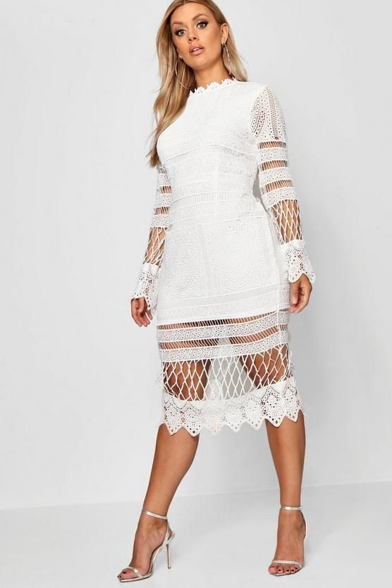 Plus lace paneled midi white bridal shower dresses for the bride