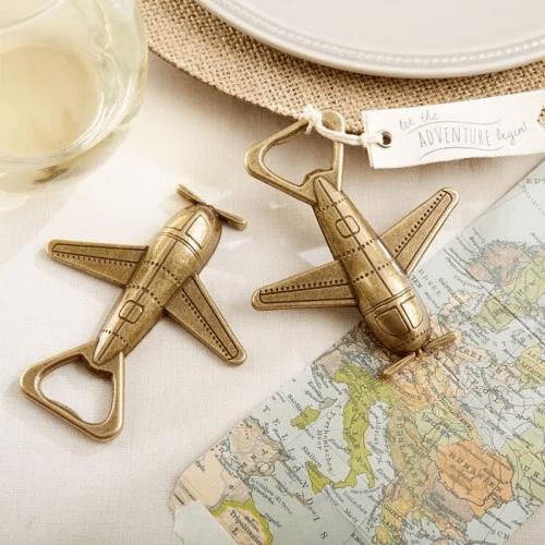 Airplane bottle opener bridal shower favors