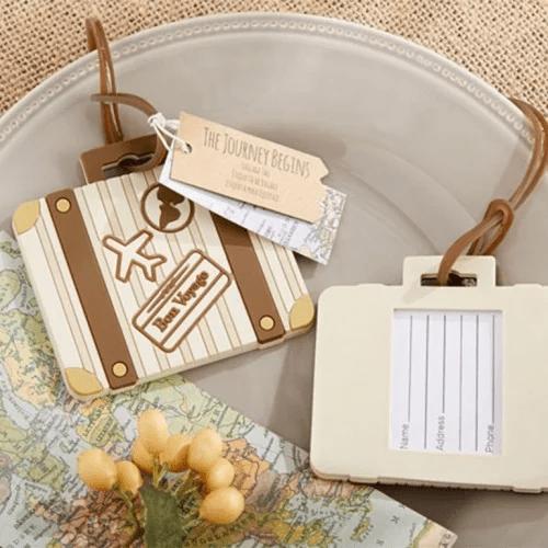 Vintage suitcase luggage tags destination bridal shower favors