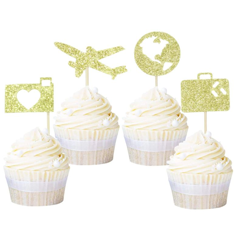 Travel themed cupcake toppers for parties