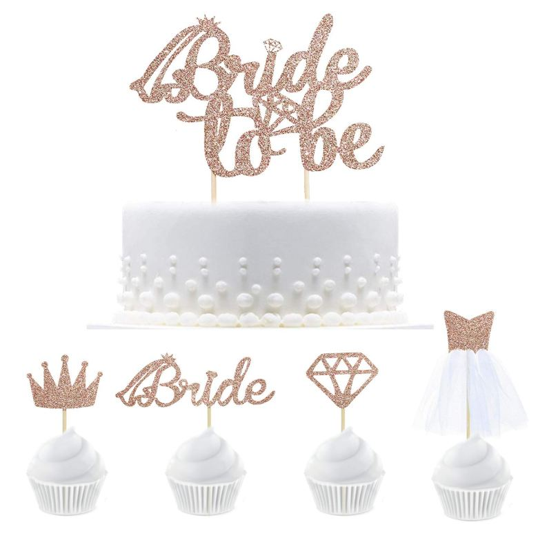Gold cake and cupcake topper