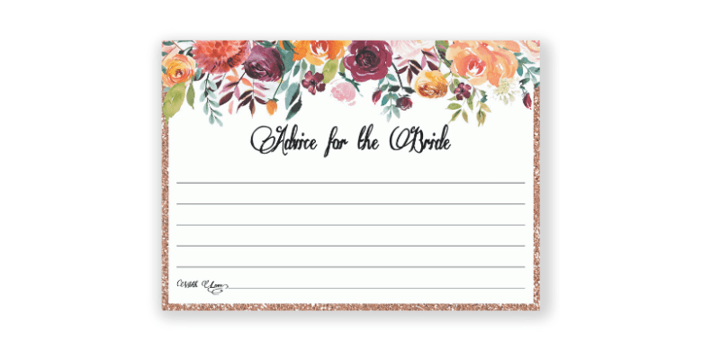 Advice for the bride card- memorable bridal shower
