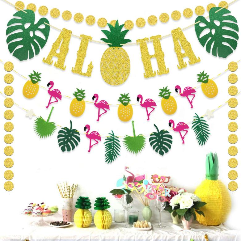 Tropical theme bridal shower decorations