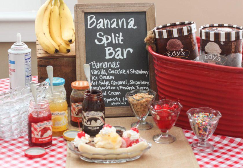 Banana split bar for parties