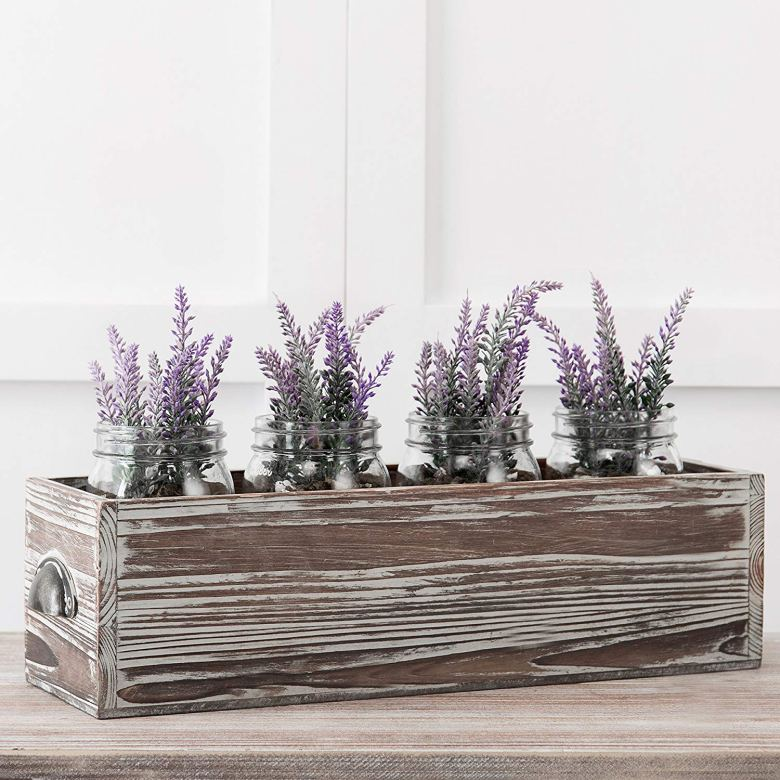 This flower box is the perfect rustic bridal shower decoration and centerpiece