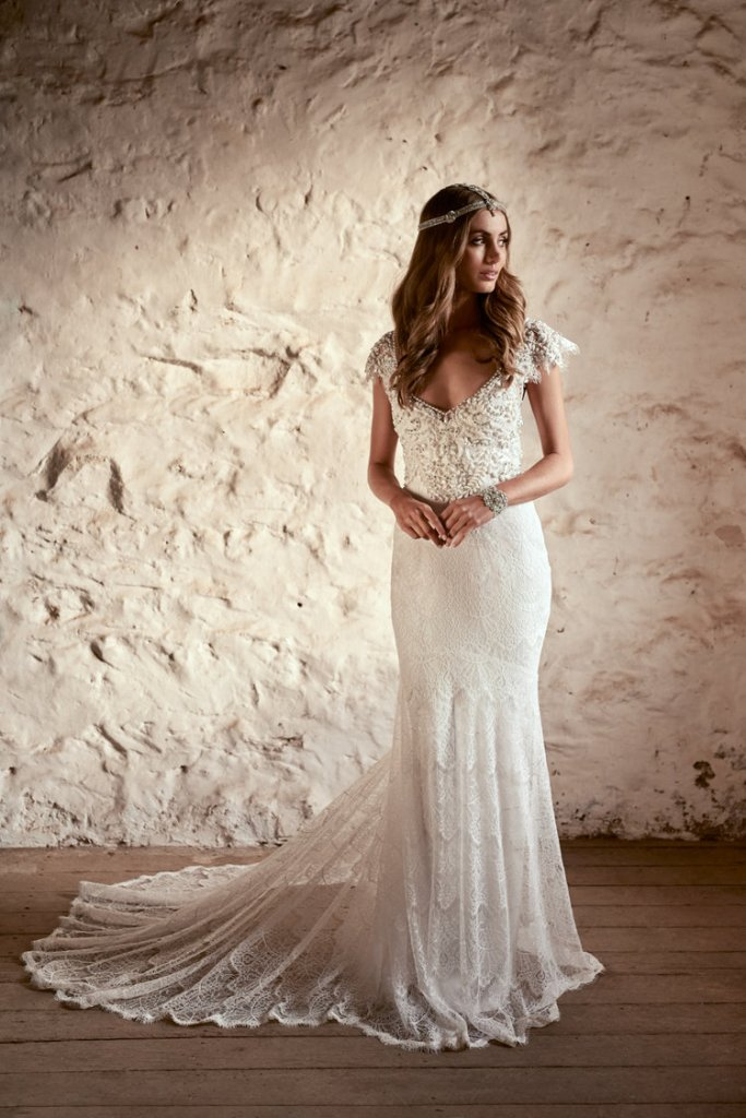 Ruby fit and flare lace wedding dress