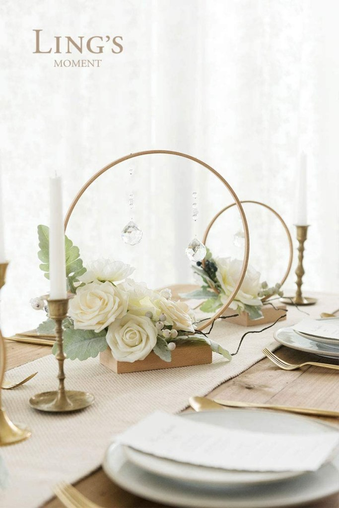 Wooden Centerpieces Hoop Ornaments for Wedding