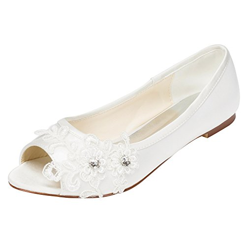 Emily Bridal Peep Toe with Sequin Lace Flower Bridal Shoes