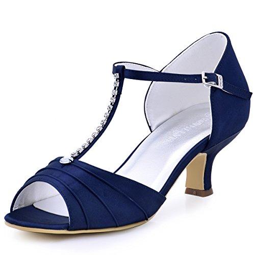 ElegantPark Peep Toe T-Strap Sandals