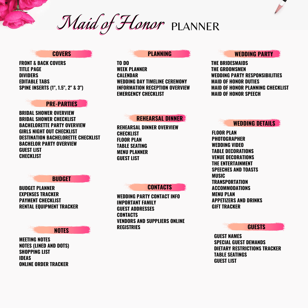 Maid of Honor Planner