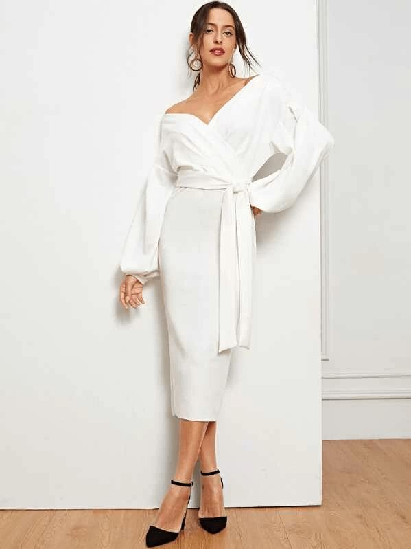 White wrap bridal shower dresses for the bride