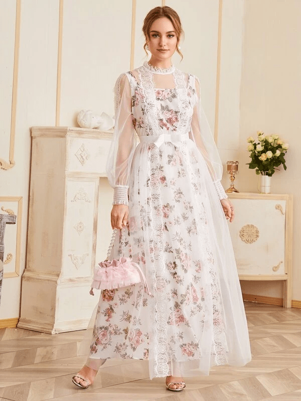 Lace Overlay Floral Dress for Bridal Shower