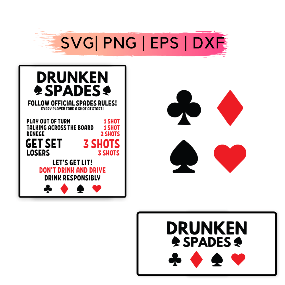 Drunken Spades SVG