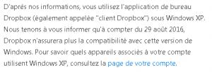 dropbox - arrêt support XP