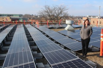 Rooftop solar installation completed on Winter Solstice, December 21, 2017.