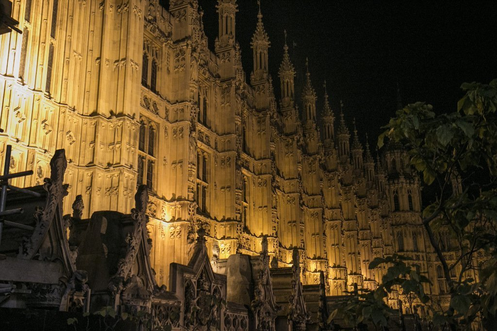 House of Lords at night in London