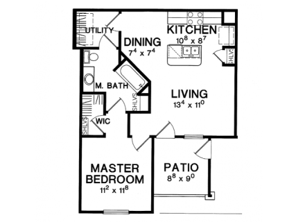 1 Bed / 1 Bath / 654 sq ft / Deposit: $375 / Rent: $1,149