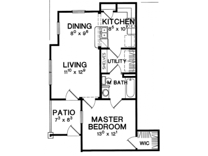 1 Bed / 1 Bath / 678 sq ft / Deposit: $750 / Rent: $1,349