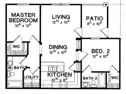 2 Bed / 2 Bath / 898 ft² / Deposit: $425 / Rent: $1,549