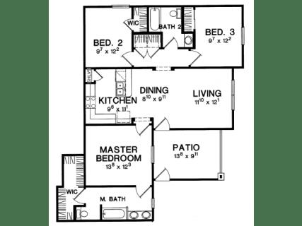 3 Bed / 2 Bath / 1146 ft² / Deposit: $475 / Rent: $1,849