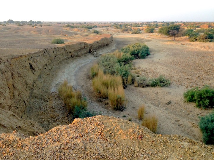 Vestiges of a desert watercourse near Jaisalmer