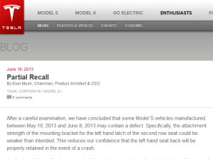 Tesla Model S Recalled This Morning For Defect in Seat Anchor
