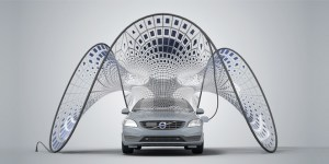 Volvo Solar Pavilion Offers Shade and SOlar Electric Vehicle Charging