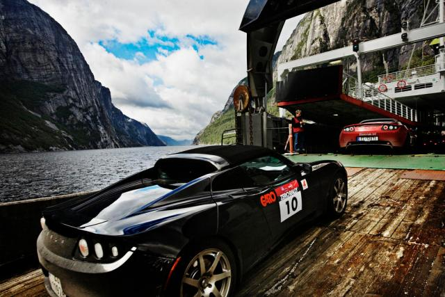 Tesla Model S (and this Roadster) Get a Free Ride on the Ferry in Norway