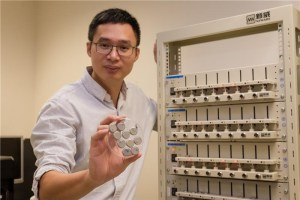 NTU's Prof. Chen with the ultrafast charging batteries he and his team developed in Singapore