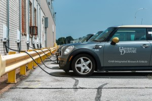 EV at the University of Delaware pilot returning power to the grid
