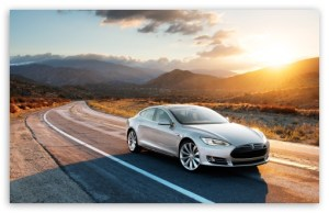 Tesla S Driving through Desert