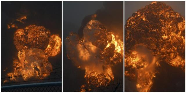 Oil spill and explosion when oil tankers, the newer and safer ones, derailed in West Virginia, yesterday.