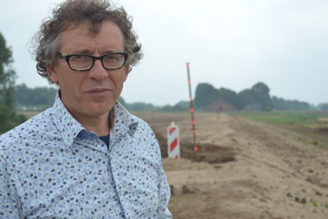 "Mindert DeVries, on his ""soft"" dike near Werkendam"