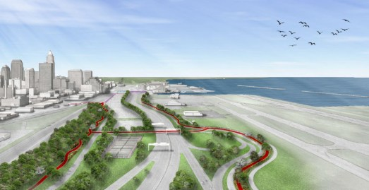 Slides from the East Side Lakefront Greenway and Downtown Connector Study showing trails and amenities proposed by the Campus District Inc., St. Clair Superior Development and the Warehouse District.