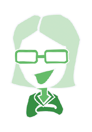 A cartoon outline of a women with glasses - the leadership online course icon.